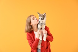 Cute teenage girl with funny husky puppy on color background