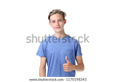 Cute teenager on white background