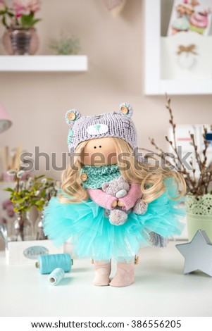 Cute Textile Handmade Interior Doll #386556205