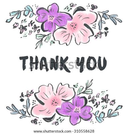 Cute Thank You Card. Modern Thank You Card. Modern Flower Thank You Background