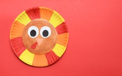 Cute Thanksgiving Turkey Craft for Kids Colorful Art Project for Children Easy Fun Activity with Copy Space