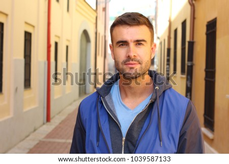 Cute thirty years old man outside