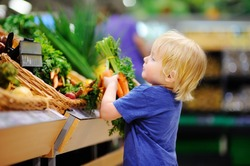 Cute toddler boy in a food store or a supermarket choosing fresh organic carrots. Healthy lifestyle for young family with kids