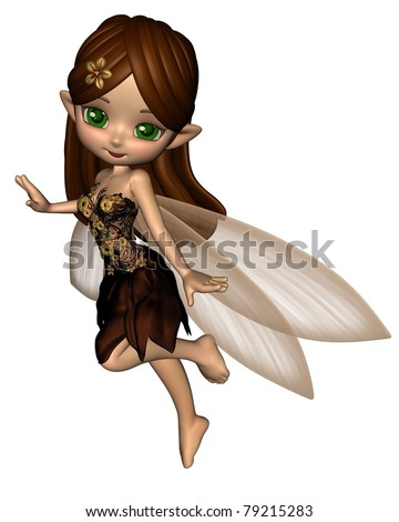 Cute toon fairy in a brown and gold flower dress with gossamer wings, 3d digitally rendered illustration