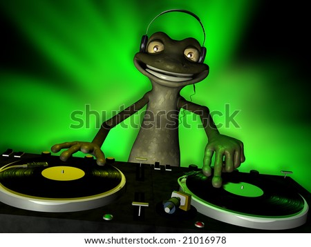 Cute Toon Frog Dj Spinning Records Turntables With Vinyl