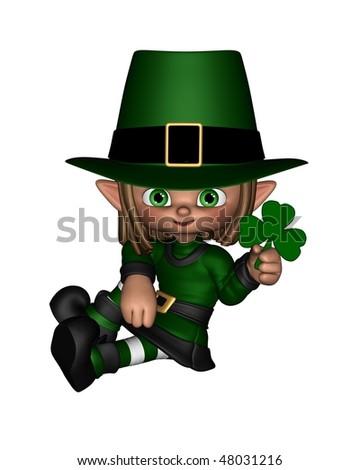 Cute Toon Irish Leprechaun holding a shamrock leaf - 1
