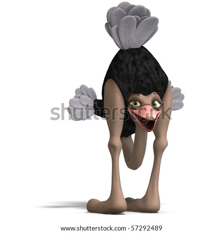 cute toon ostrich gives so much fun. 3D rendering with clipping path and shadow over white