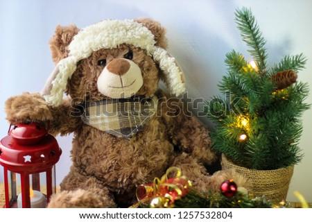 8ad6377ba5 Free photos Teddy bear with red and white christmas balls christmas ...