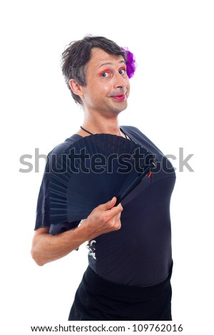 Cute transvestite man dressed as woman, isolated on white background