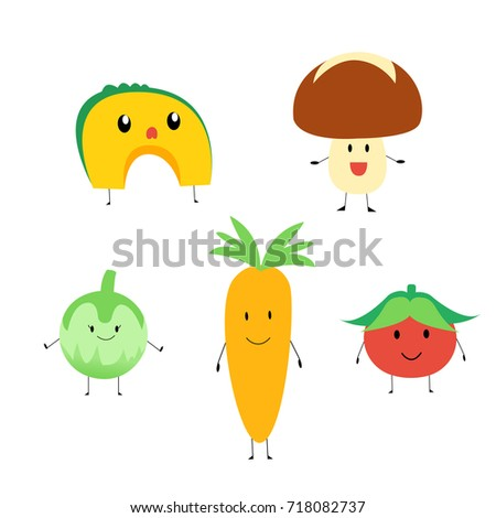 Cute vegetables illustration. #718082737