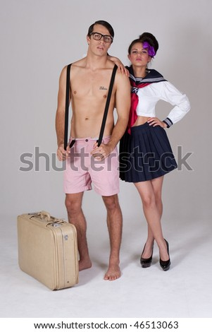 cute vintage couple, dressing up in sailor and nerd outfits