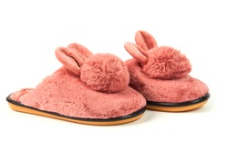 Cute warm fluffy women's Bunny Slippers isolated on white background