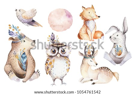 Cute watercolor bohemian baby cartoon rabbit and bear animals for kindergarten, woodland deer, fox and owl nursery isolated bunny forest illustration for children. Bunnies animal.