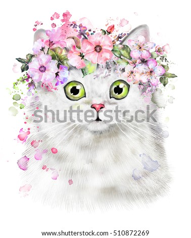 Stock Photo Cute Watercolor Cat illustration. T-shirt print, card. Poster cat. wreath of Flower and splash paint. Isolated, hipster