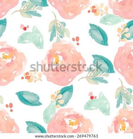 Cute Watercolor Floral Pattern With Painted Peony Flowers and Leaves. Watercolor Flower Background Pattern