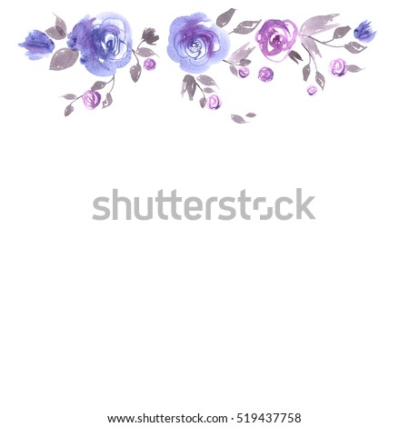 Cute Watercolor Flower Frame Background With Blue Roses Invitation Wedding Card Birthday Ultra Violet