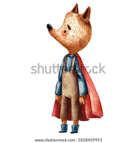 Cute watercolor fox character. brown overall and red mantle. Happy dressed animal. Cartoon style of illustration. Funny character. Mascot animal. Greeting card. Wool sweater. Pensive boy. Stockfoto ©