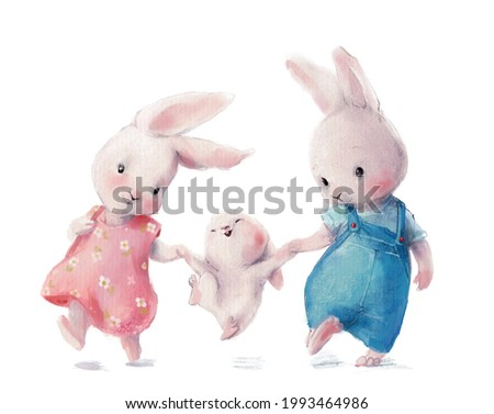 cute watercolor hares - young family