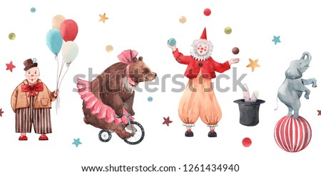 Cute watercolor horizontal pattern, circus, children's print, clown with balloons and juggler, bear ballerina on a bicycle, elephant on a ball, hat with a hare