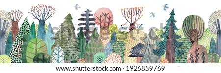 Cute watercolor illustration. Abstract forest. Wildlife. Forest view. Horizontal repeating border.