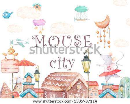 Cute watercolor mouse on the house, cartoon city and fly airships illustration for baby shower, cards, flyers, posters, prints, holiday, children. Hand drawn isolated clip art nursery colorful