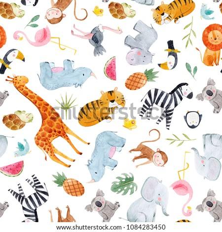 Cute watercolor pattern Safari, different tropical animals, zebra, lion, tiger, turtle, rhinoceros, toucan bird, penguin, ostrich, koala, flamingo, elephant, hippopotamus, giraffe, monkey. palm leaves