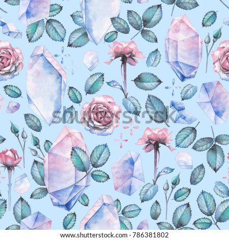 Cute watercolor seamless pattern with pastel colored crystals, rose leaves and flowers