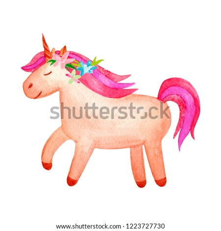 Cute watercolor unicorn clipart isolated on white background. Beautiful watercolor unicorn illustration. Magic trendy pink cartoon horse perfect for nursery print and poster design. Princess unicorns.