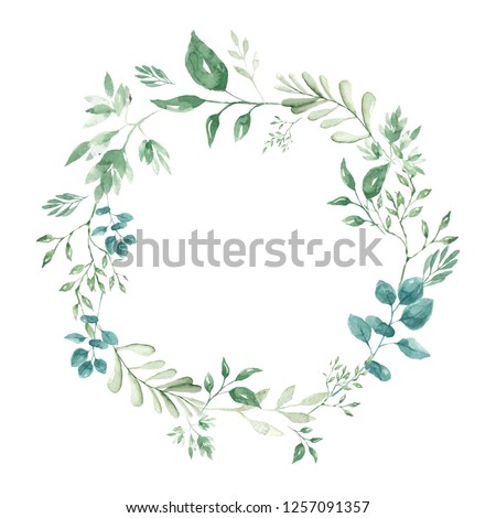 Cute watercolor wreath hand painted for your creative design Watercolor backround Watercolor clipart Greenery Botanical herbs Gardens herbs Nature background Blooming flowers Herbal wreath Texture