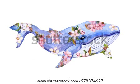 Cute whale in flowers. Watercolor