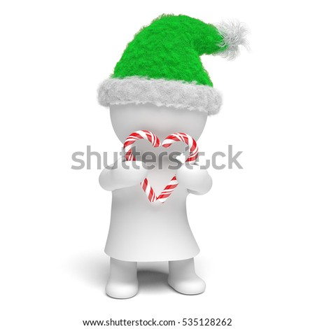 5b3b744809511 cute white 3d person holding a heart made of two candy canes wearing a  fluffy green