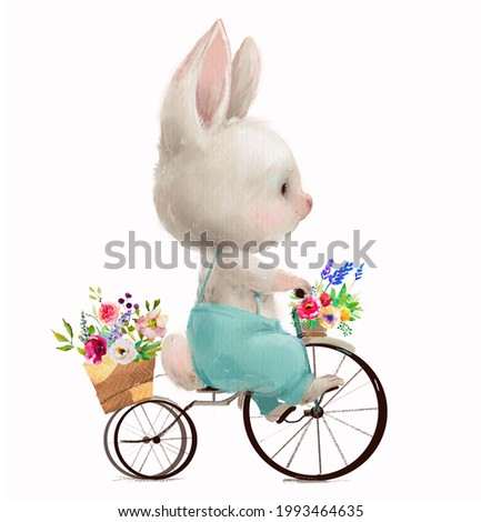 cute white hare with flowers is riding