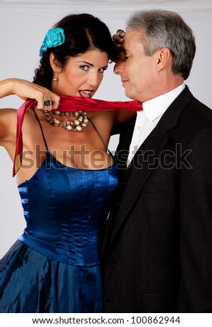 stock photo : Cute white mature couple in romantic moment with formal dress, ...