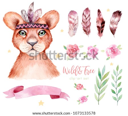 Cute wild boho animal. Lion portrait with feathers, branches and flowers. Watercolor illustration, perfect for nursery room poster.