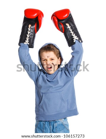Cute winner Boxer - boy boxing wearing boxing gloves. Isolated on white background.