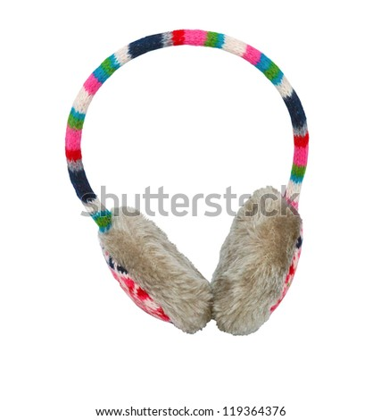 cute winter ear-muffs isolated over white background