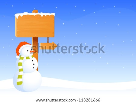 cute winter theme illustration with a snowman and blank wooden sign board covered in snow