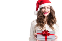 Cute woman holding a Christmas and New Year gifts.