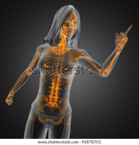 cute woman radiography made in 3D graphics