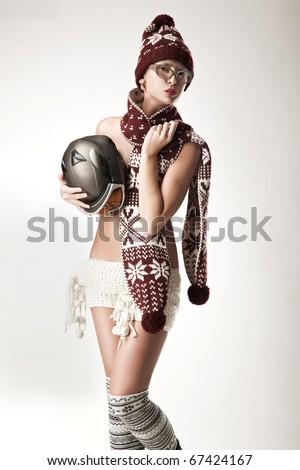 Cute woman wearing scarf
