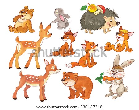 Cute woodland animals. Small set of cute baby woodland animals. Baby bears, deer, hare, rabbit, foxes and hedgehog. Coloring book. Coloring page. Funny cartoon characters isolated on white #530167318