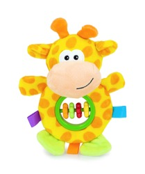 Cute yellow giraffe rattle doll with plastic rings isolated on white background with shadow reflection. Playful colorful giraffe sitting on white underlay. Giraffe plush stuffed puppet. Plushie toy.