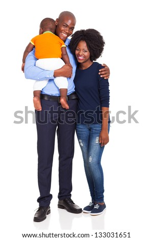 cute young african couple with their child isolated on white