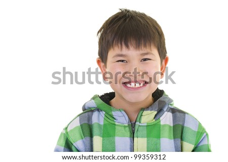 Cute young asian boy with great smile wearing a colorful sweater isolated on white background