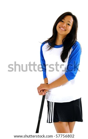 Cute young Asian softball player in blue and white jersey resting on bat