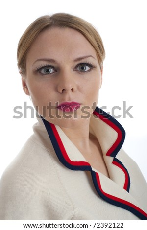 Cute young blonde girl in 60s style jacket isolated against white