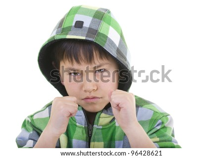 Cute young boy ready to fight with colorful hoodie isolated on white background - stock photo