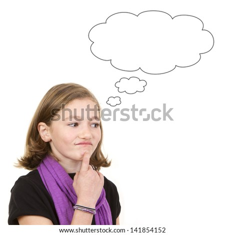 Cute young brunette girl thinking or daydreaming, portrait on white background.