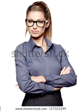 Cute young business woman with glasses #117323149