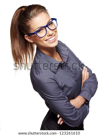 Cute young business woman with glasses #123261610